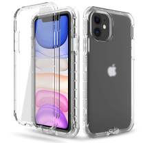 DONWELL Compatible iPhone 11 Case Hybrid Full Body Case with Built-in Screen Protector Three Layer Shockproof Case Cover Compatible with iPhone 11 / iPhone 11R 6.1 inch 2019 (Clear-1)