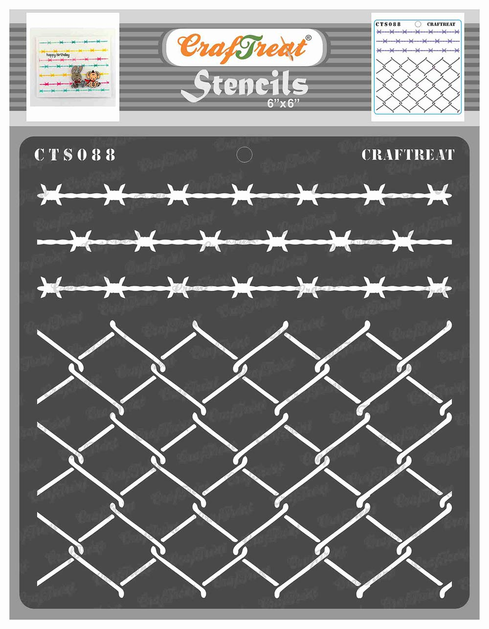 CrafTreat Fence Stencils for Painting on Wood, Canvas, Paper, Fabric, Floor, Wall and Tile - Wire Fence - 6x6 Inches - Reusable DIY Art and Craft Stencils - Barbed Wire Stencil