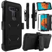 Venoro LG K51 Case, LG Reflect Case, Shockproof Full Body Protection Kickstand Case Cover with Swivel Belt Clip for LG K51 / LG Q51 / LG Reflect 6.5inch (Black)