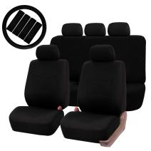 FH Group FH-FB051115 Multifunctional Flat Cloth Seat Covers (Airbag Compatible & Split) W. FH2033 Steering Wheel Cover and Seat Belt Pads, Solid Black Color - Fit Most Car, Truck, SUV, or Van