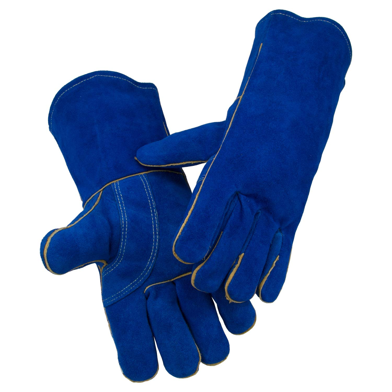 Laproter AB Grade Split Cowhide Heavy Duty Welding Gloves Lined Leather, Size XL, Length 14inch Perfect for Gardening/Oven/Grill/Mig/Fireplace/Stove/Pot Holder/Tig Welder/Animal Handling/BBQ