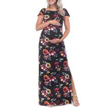 Mother Bee Maternity Short Sleeve Bodycon Maternity Dress with Ruched Side Slits for Baby Shower or Casual Wear