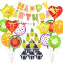 Fruit Themed Birthday Party Decorations Supplies,Fruits HAPPY BIRTHDAY Banner Garland Aluminum Foil Fruit Balloons Pineapple Cupcake Toppers for Baby Shower Kids Summer Birthday Party Bedroom Decor