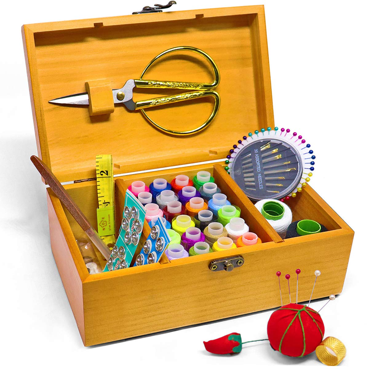 Jolitac Sewing Kit Box Wooden Sewing Basket Home Repair Tool Set with Needle, Scissors and Thread Art Craft Supplies