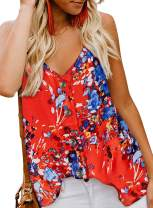 Tiksawon Women's V Neck Strappy Loose Flowy Tank Tops Cute Summer Casual Printed Sleeveless Shirts Blouses