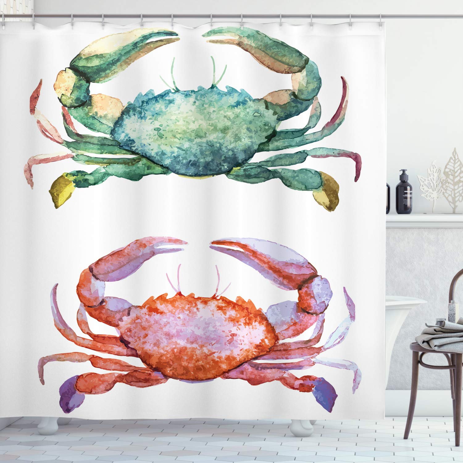 """Ambesonne Crabs Shower Curtain, Watercolor Style Effect Sea Animal Theme Pattern Illustration of Crabs Artwork Print, Cloth Fabric Bathroom Decor Set with Hooks, 75"""" Long, Orange Teal"""