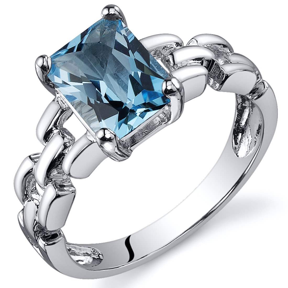 Swiss Blue Topaz Ring Sterling Silver Rhodium Nickel Finish Chainlink Style 1.75 Carats Sizes 5 to 9