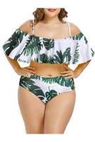Pink Queen Women Plus Size 2 Piece Bikinis Tummy Control Floral Print Ruffle Swimsuits