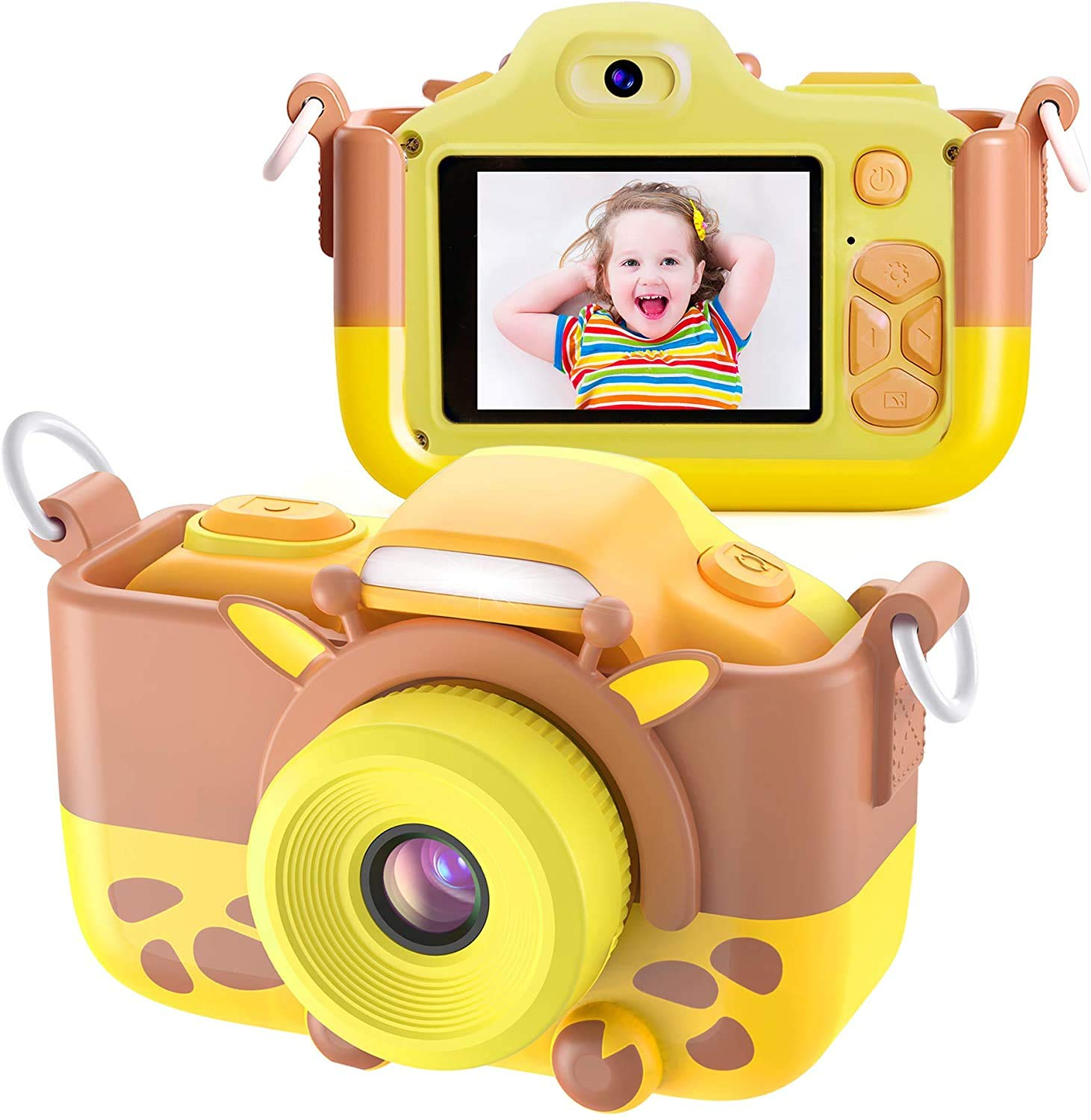 Twinto Kids Camera, Digital Camera Selfie and Video Camera with 12MP/ HD 1080P/ Dual Lens/ 2.0 inch Screen/ 256M Micro SD Card, Birthday Gift for Boys Girls (Yellow)