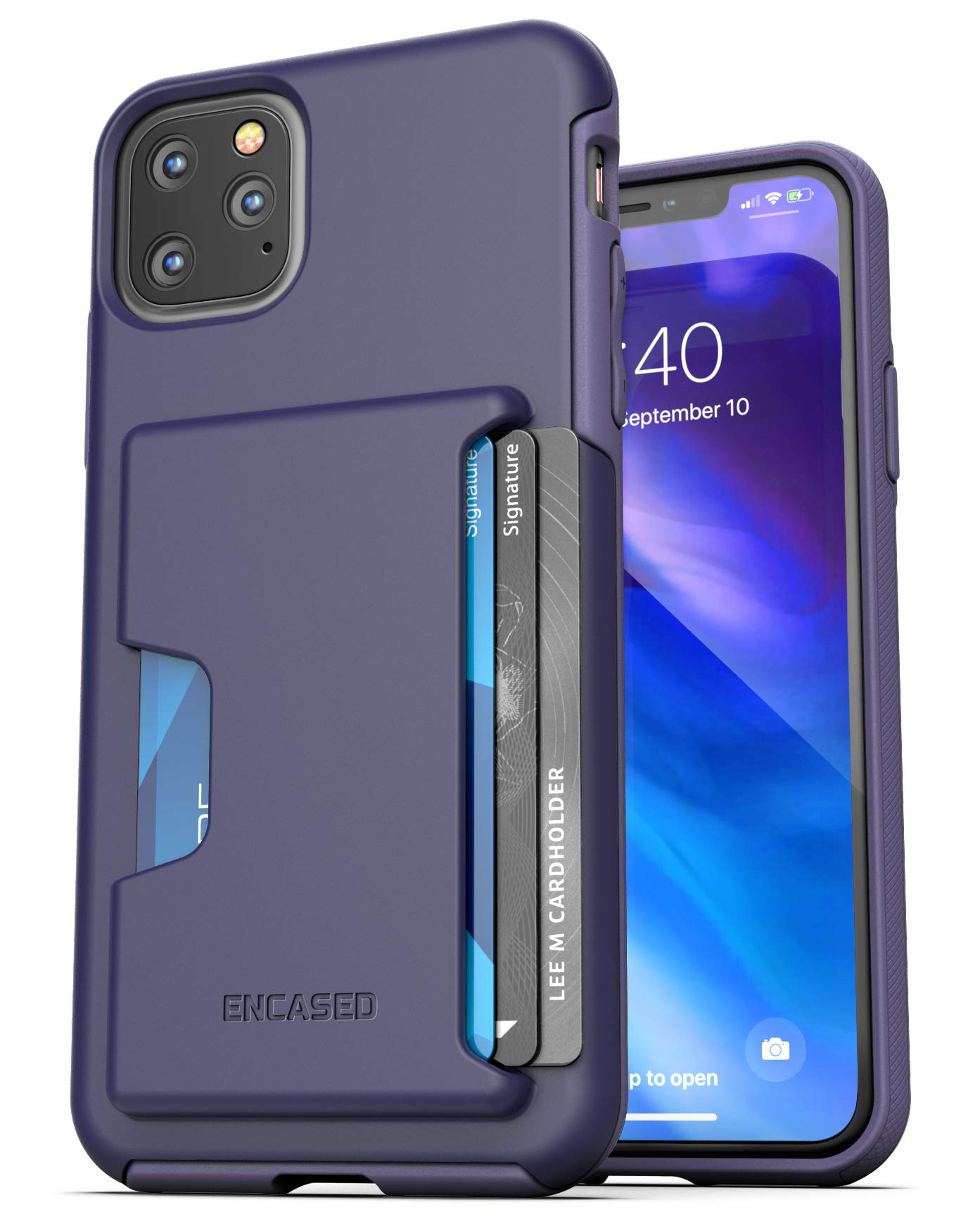 Encased iPhone 11 Pro Max Wallet Case (2019) Ultra Durable Cover with Card Holder Slot (4 Credit Cards Capacity) Purple