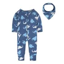 BIG ELEPHANT Unisex-Baby Long Sleeve Pajama Zipper Closure Organic Cotton Romper with Bibs Gifts Size 0-24 Month