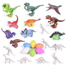 FUN LITTLE TOYS 25 PCs Building Block Dinosaur Toys for Kids Party Favors Party Supplies, Goodie Bag Fillers and Kids Prizes