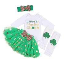 St.Patrick's Day Newborn Baby Girl Outfit Romper Top+ Short+Shamrock Leg Warmers+Headband Set