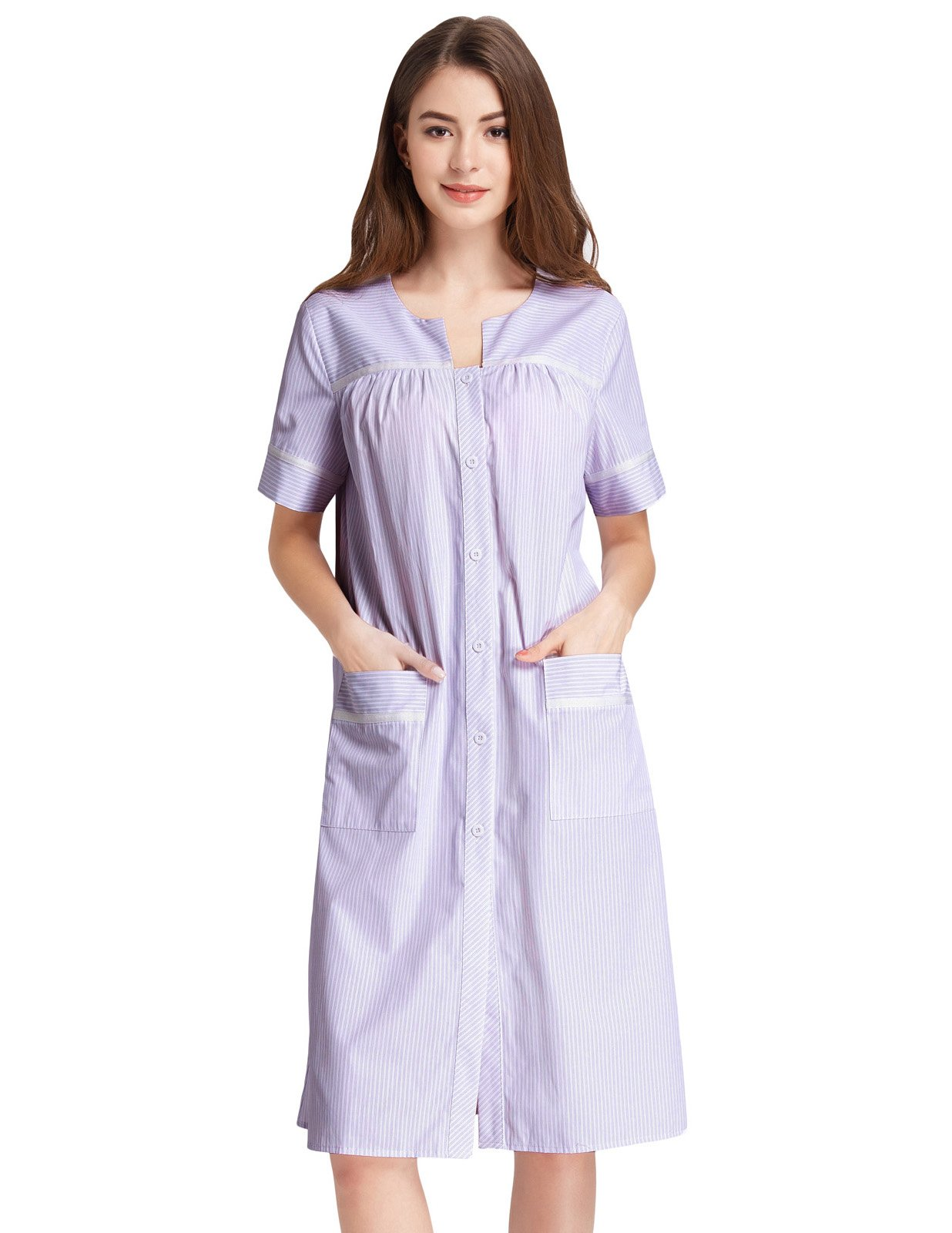 Zexxxy Womens Short Nightgown Button Down Duster Robe Striped House Dress with Pockets