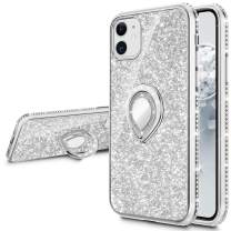 VEGO Compatible for iPhone 11 Glitter Case with Ring Holder Kickstand for Women Girls Bling Sparkly Diamond Rhinestone Bumper Shiny Cute Pretty Protective Case Compatible for iPhone 11 (Silver)