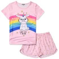 Jxstar Pajamas Sets for Girls Unicorn Pjs Little Kids Summer Cotton Sleepwear