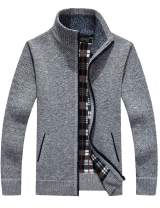 Liengoron Men's Casual Zip Up Thick Knitted Cardigan Sweater with Pockets(8 Colors, 5 Size)