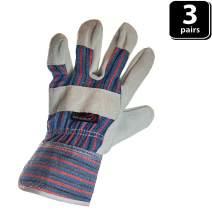 SAFE HANDLER Work Leather Gloves | Cool Cotton Lined Backing, Split Leather Safety Cuff Work Gloves, Lightweight & Versatile, 3 Pack