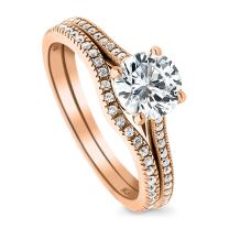 BERRICLE Rose Gold Plated Sterling Silver Round Cubic Zirconia CZ Solitaire Engagement Wedding Ring Set 1.32 CTW