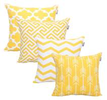 ACCENTHOME Square Printed Cotton Cushion Cover,Throw Pillow Case, Slipover Pillowslip for Home Sofa Couch Chair Back Seat,4pc Pack 18x18 in Yellow Color