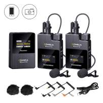 Wireless Lavalier Microphone,Comica BoomX-D2 2.4G Compact Wireless Microphone System with 2 Transmitter and 1 Receiver,Lav Mic for Smartphone Camera Podcast Interview YouTube Facebook Live-steam