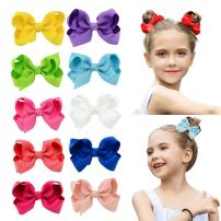 "DEEKA 10 PCS Multi-colored 3"" Hand-made Grosgrain Ribbon Hair Bow Alligator Clips Hair Accessories for Little Girls"