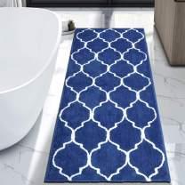 "HEBE Extra Long Bath Rug 70""x27.5"" Non Slip Absorbent Bath Mat Runner for Bathroom Shaggy Bath Runner Rug Carpet for Shower Sink Machine Washable Blue"