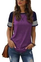 Adibosy Women's Short Sleeve Tops Leopard Color Block T Shirt Casual Tunic Crew Neck Striped Shirts S-XXL