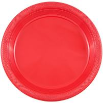 JAM PAPER Round Plastic Party Plates - Medium - 9 inch - Red - 20/Pack