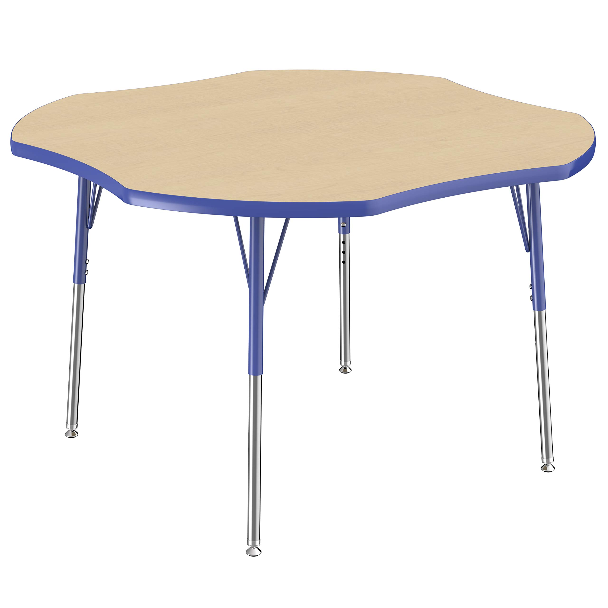 FDP Clover Activity School and Office Table (48 x 48 inch), Standard Legs with Swivel Glides for Collaborative Seating Environments, Adjustable Height 19-30 inches - Maple Top and Blue Edge