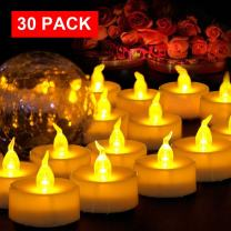 "AMAGIC 30 Pack LED Tea Light Candles Bulk, Battery Operated Tealights with Flickering Amber Yellow Glow, Fake Tealight Candles for Easter Decor, Holiday, Wedding, Party, Votive(Dia 1.4"")"