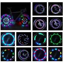 JASLITE Bicycle Wheel Lights, 2packs LED Bike Lights Waterproof Design Spoke Tire Lights Bicycle Color Led Lights for Kids Adults-14LED 30Patterns Change Ultra Bright,Automatic & Manual Dual Switch