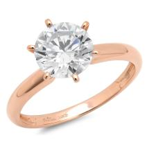 2.0 ct Brilliant Round Cut Solitaire Highest Quality moissanite Engagement Wedding Bridal Promise Anniversary Ring in Solid Real 14k Rose Gold for Women