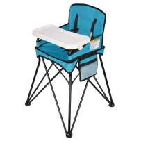 VEEYOO Baby High Chair for Eating, Space Saver High Chair, Portable for Indoor and Outdoor, Compact Fold, for 6-36 Months - up 37 Pounds, Blue