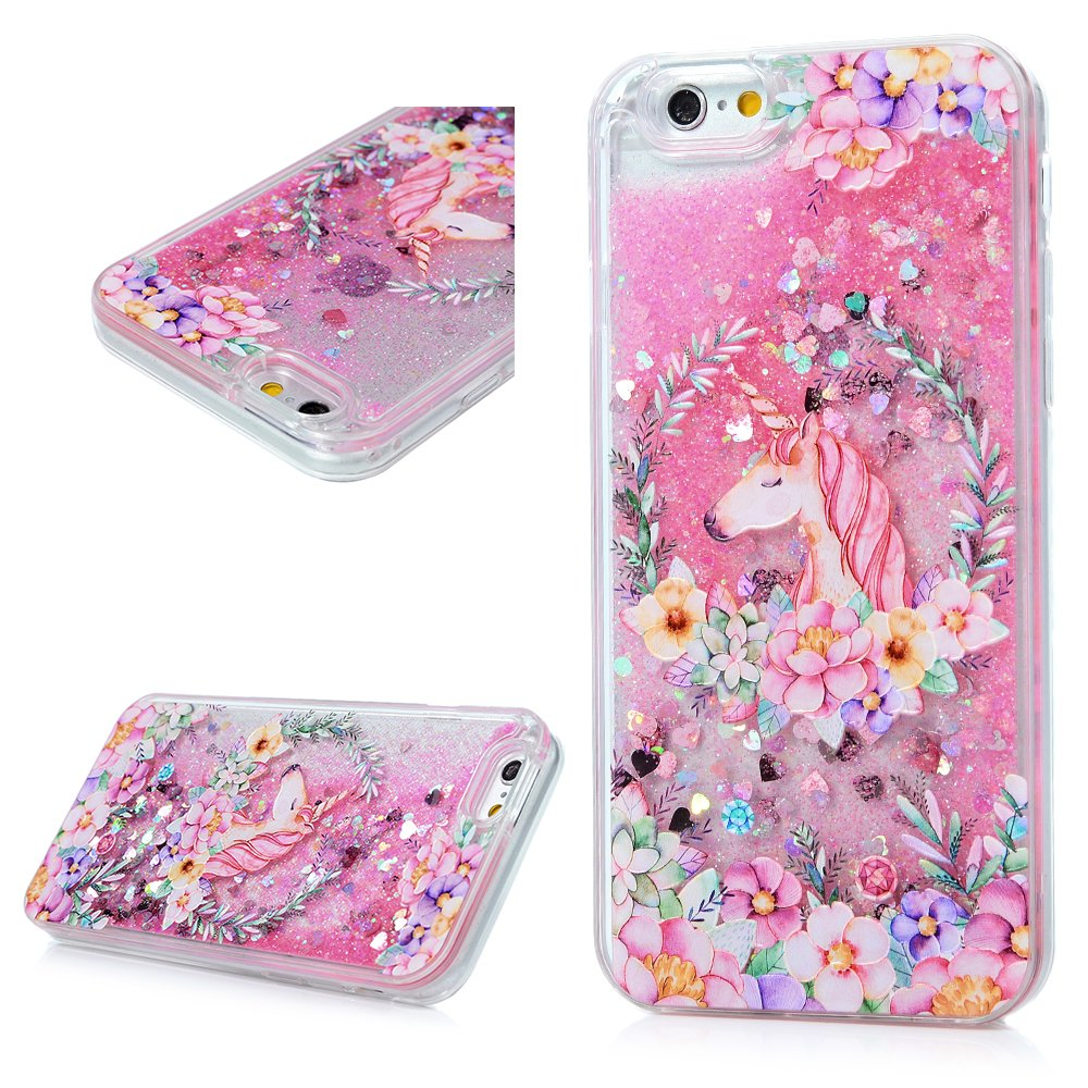 Mavis's Diary iPhone 6 case, iPhone 6S Case (4.7), Bling Glitter Sparkle Flowing Liquid Quicksand Moving Sequins Protective Hard PC Back Cover with Soft TPU Rubber Frame - Painted Unicorn Flower