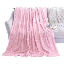 """LIFEREVO Luxury Faux Fur Throw Blanket Chevron Brushed Fleece with Crystal Velvet Mink Reversible, Super Soft, Smooth and Cozy Warm for All Seasons (60""""x80"""", Pink)"""