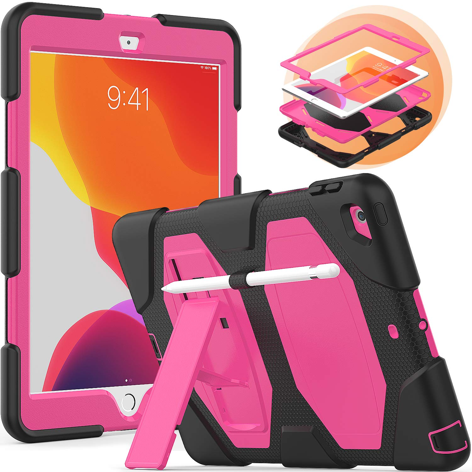 timecity iPad 10.2 Case 2019, iPad 7th Generation Case with Built-in Foldable Kickstand Pencil Holder, Rugged Heavy Duty Proteciton Schockproof Dustproof Scratch Resistance Protective Cover, Rose