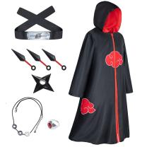 9-Piece Set Unisex Anime Long Robe Halloween Cosplay Costume Uniform Role Cloak Headband Full Accessories