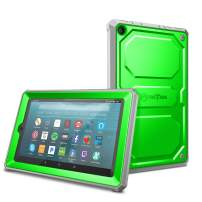 Fintie Shockproof Case for All-New Amazon Fire 7 Tablet (9th Generation, 2019 Release) - Rugged Unibody Hybrid Full Protective Bumper Cover with Built-in Screen Protector, Green