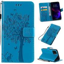 Cmeka 3D Cat Tree Flower Butterfly Wallet Case for iPhone 11 Pro 2019 5.8 inch Slim Flip Leather Protective Case Magnetic Closure Credit Card Slots Holder Kickstand Function Sky Blue