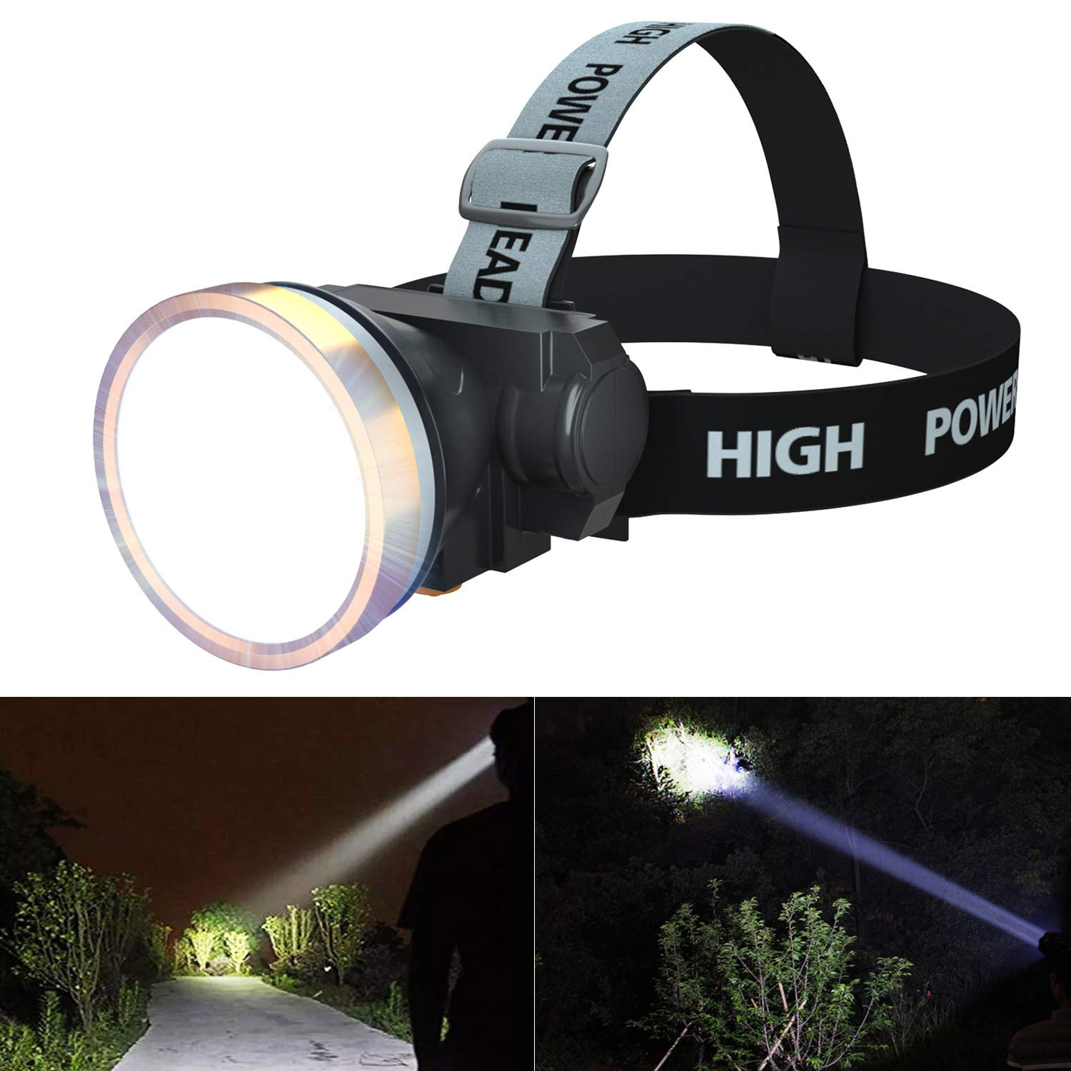 ODEAR Head Torch LED Rechargeable Headlamp Spotlight Battery Powered Headlight for Hiking Fishing Camping Night Ride