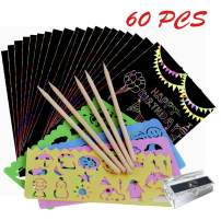 Scratch Crafts Art Paper Kit for Kids 2 3 4 5 6 7 8 Years Old, 60 PCS Magical Rainbow DIY Scratch Art Set Boys Girls Infant Birthday Party Favor Children's Day Xmas Gift for 3 4 5 6 7 8 Year Old