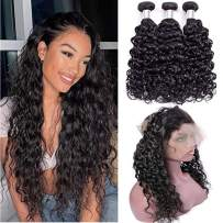 Brazilian Water Wave Human Hair Bundles with 360 Lace Closure Pre Plucked Frontal Closure with Bundles Wet and Wavy Human Hair Bundles with Closure with Baby Hair Natural Hairline 360 Lace Wigs