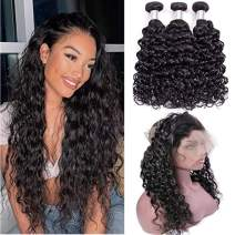 100% Unprocessed Virgin Human Hair Water Curly Wave Hair Bundles with 360 Pre Plucked Lace Frontal Closure with Baby Hair Wet and Wavy Human Hair Weave Bundles with Closure Free Part