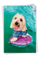 NobleWorks, Dog Surfer - Happy Birthday Greeting Card with Envelope - Fun Pet Animal Notecard, Cute Dog Surfs Ocean Waves C3206BDG