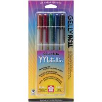 Sakura 57375 5-Piece Gelly Roll Blister Card Assorted Colors Dark Metallic Gel Ink Pen Set