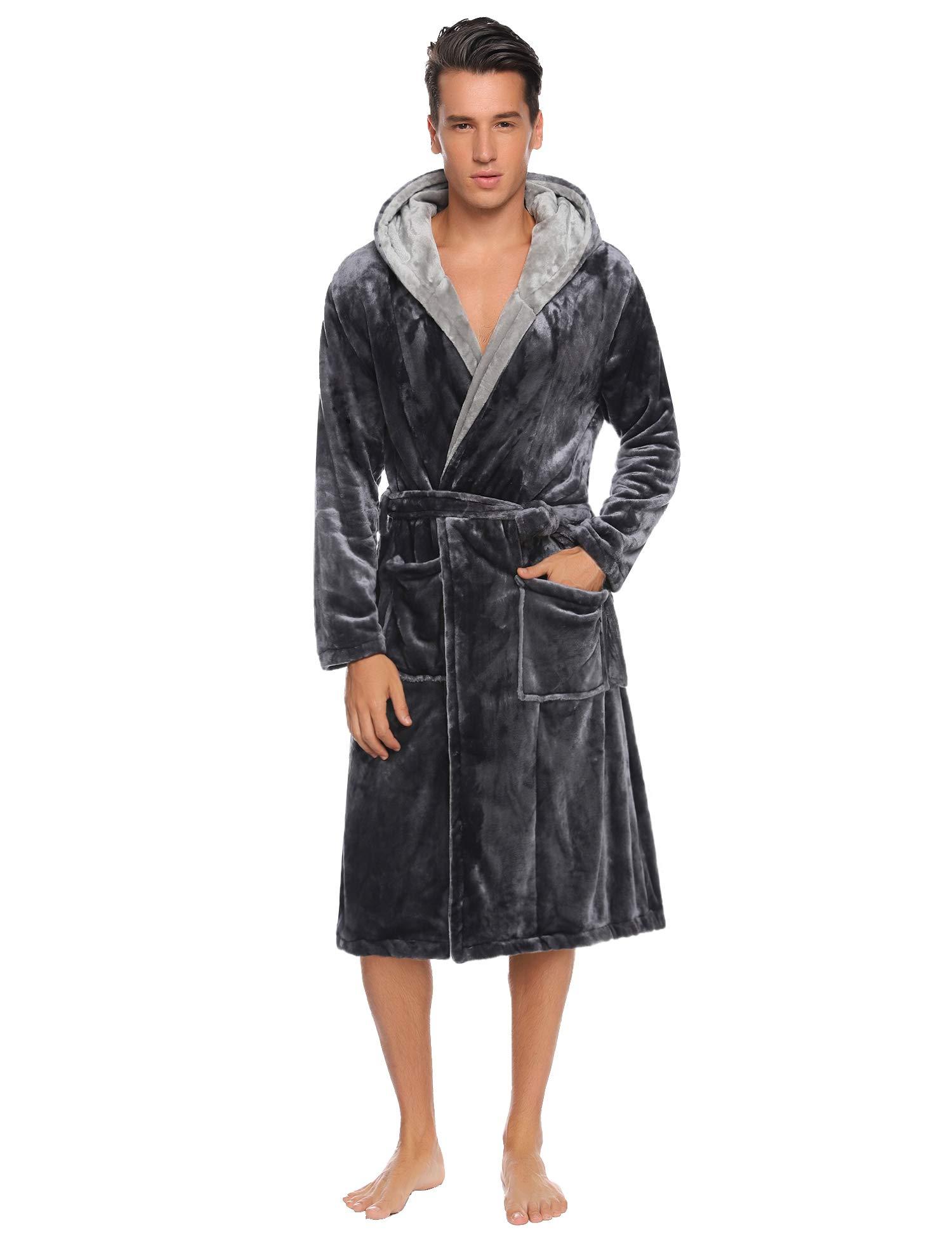 Hawiton Men's Hooded Robe Plush Shawl Kimono Bathrobes Velour Nightgown Spa Robe for Winter