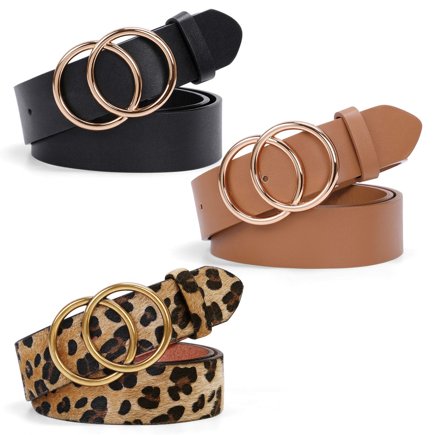 Fashion Gold Double O-Ring Belts for Women Faux Leather Belts for Jeans Dresses Pants 3 Pack