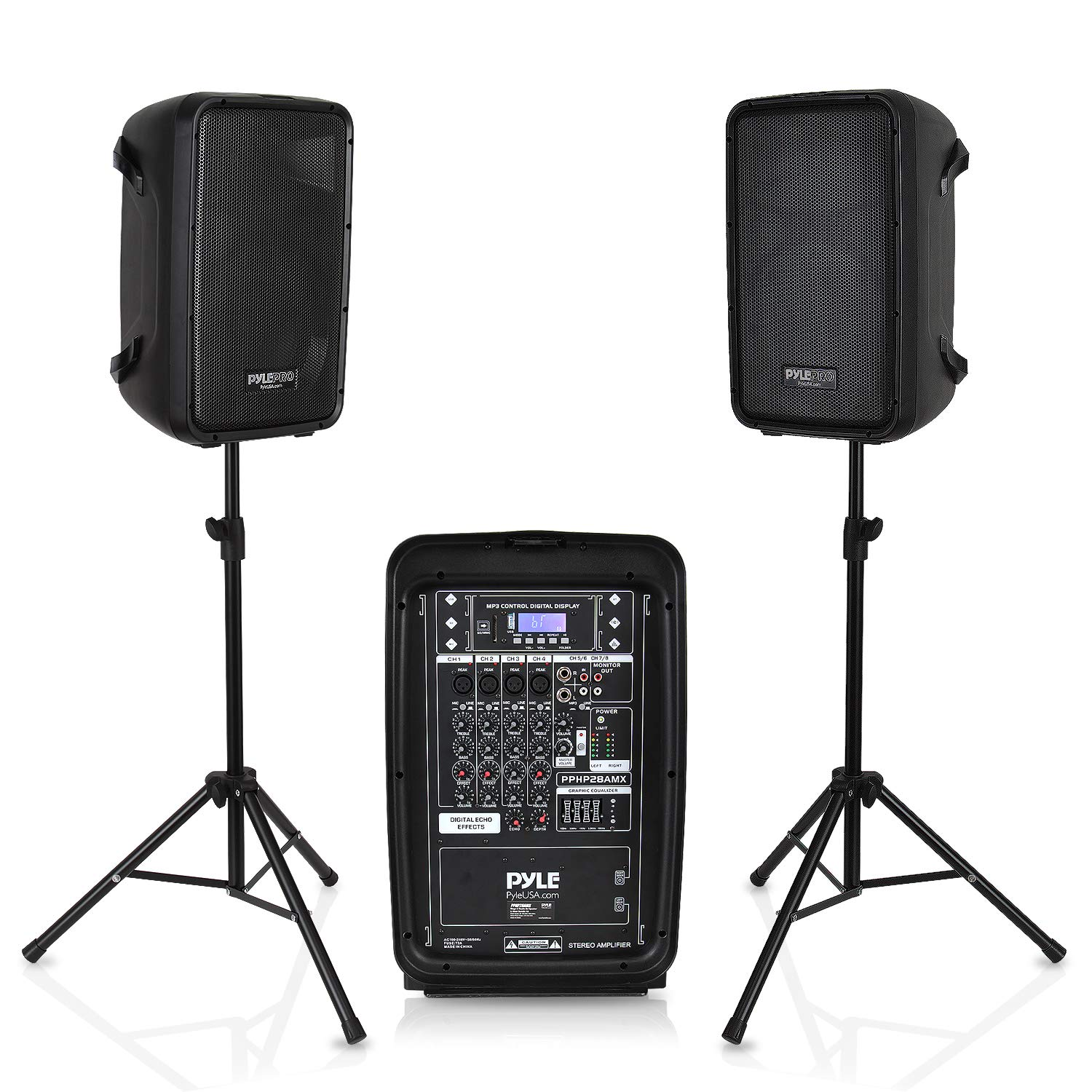 """PA Speaker DJ Mixer Bundle - 300 W Portable Wireless Bluetooth Sound System w/ USB SD XLR 1/4"""" RCA Inputs - Dual Speaker, Mixer, Microphone, Stand, Cable - Home/Outdoor Party - Pyle PPHP28AMX,Black"""