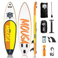 Mousa Inflatable Paddle Board, 10'8'' 33'' 6'' SUP, Camera Mount, 3-Fin Floating Paddleboard Non Slip Deck, Waterproof Phone Bag, Backpack Yoga ISUP, Fast Inflation Pump, Light Oar